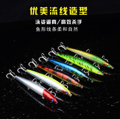 6pcs//Lot Sink Pencil Fishing Lures Laser Bait Bass Crankbait Tackle 12.5cm 20g