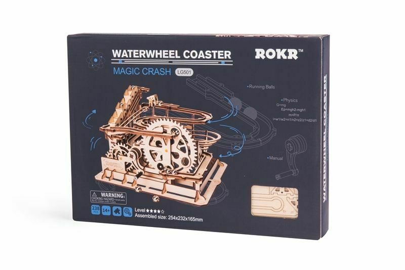 DIY Wooden Waterwheel Coaster Figurine Marble Run Game Desk Decoration Decoration Decoration Accessory b00493