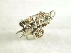 Charm sterling silver vintage fruit cart 3.4 grams