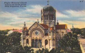 VTG-LINEN-POSTCARD-FLAGLER-MEMORIAL-CATHOLIC-CHURCH-ST-AUGUSTINE-FLORIDA-FL-B34