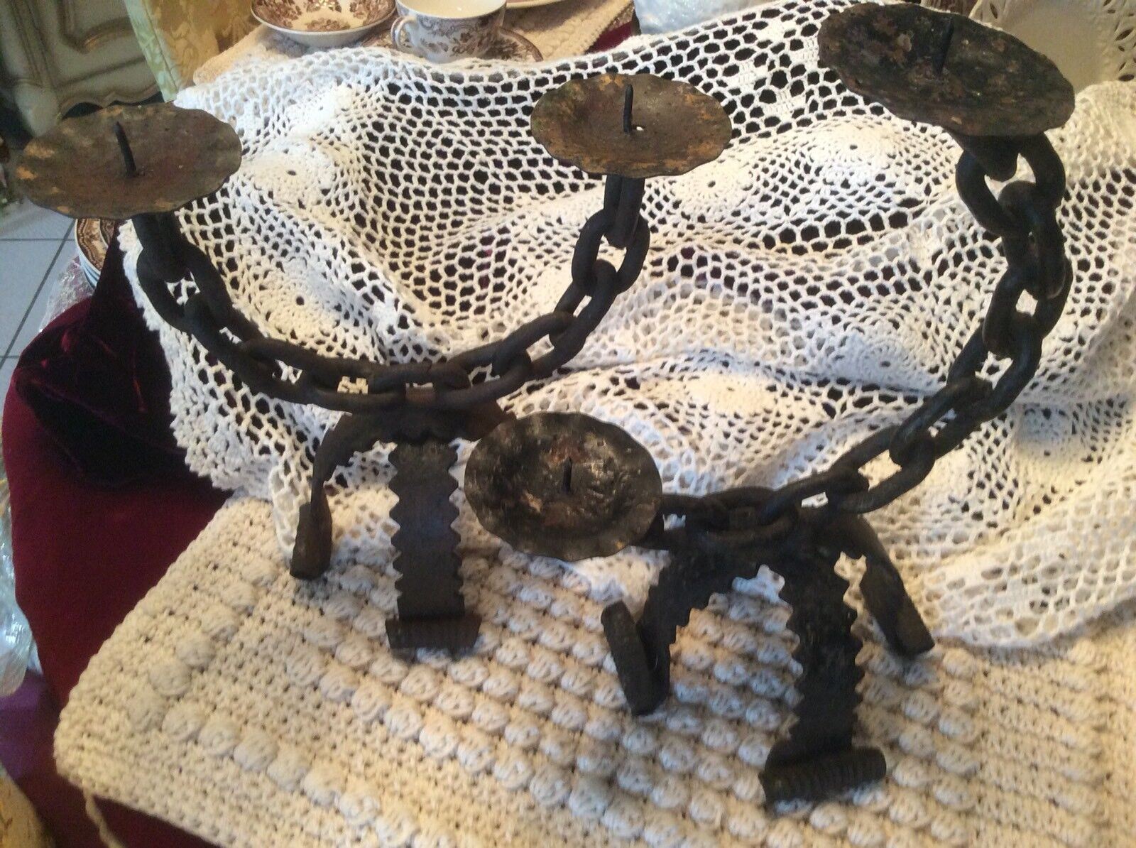 2 Vintage Wrought Iron Chain Candle Holder, Rustic, Primitive, Ranch