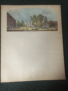 View Of Bowling Green Ny By Charles Magnus Sweet-Tempered 1860's Letter Sheet Civil War Era