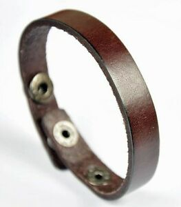 Plain-Simply-Cool-Single-Band-Surfer-Leather-Charm-Bracelet-Wristband-Cuff-Brown