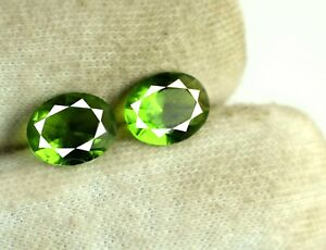 Oval 3.95 Ct Olive Green Peridot Gemstone Natural Matching Pair AGI Certified
