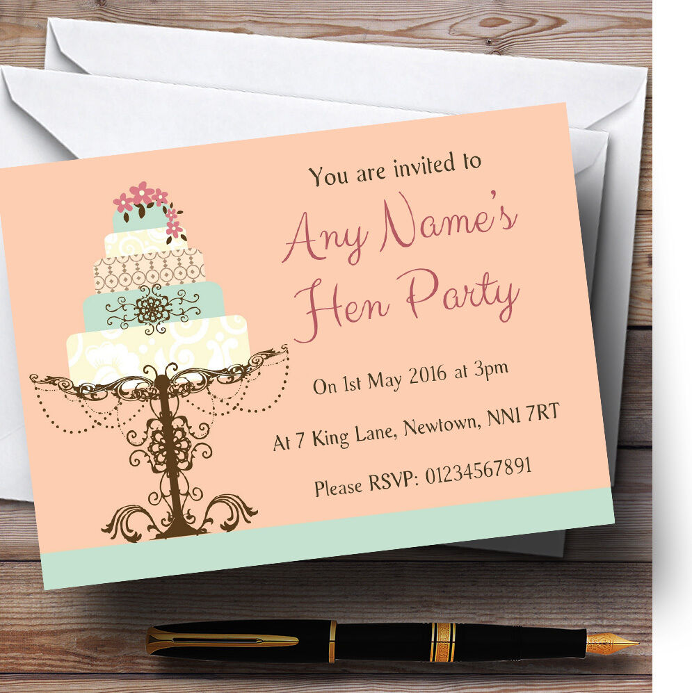 Classical Cake Beautiful Personalised Hen Party Invitations