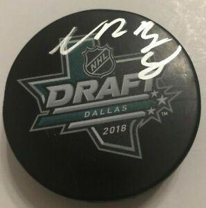 NOAH-DOBSON-SIGNED-2018-NHL-DRAFT-HOCKEY-PUCK-W-CASE-ISLANDERS-COA