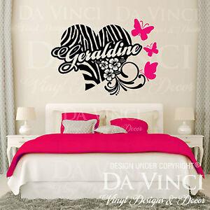 Personalized zebra print heart flower butterfly custom for Custom vinyl mural prints