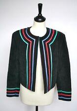 1980s Black suede leather bolero cropped vintage jacket- Giorgio Mobiani UK 12