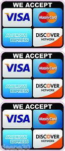 CREDIT CARD LOGO STICKER DECALS X 3 WE ACCEPT Visa ...