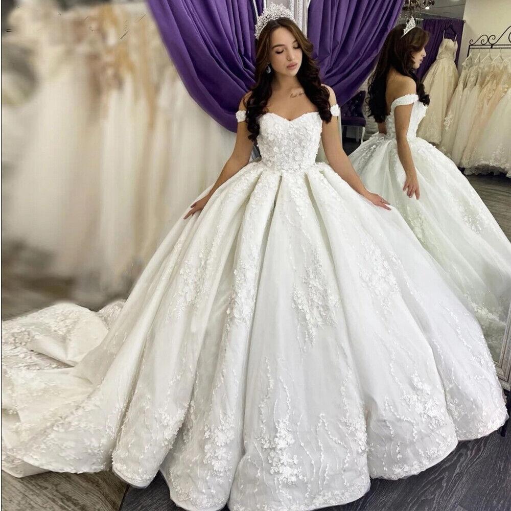 Ball Gown Princess Wedding Dresses Off the Shoulder Lace Appliques Chapel Train