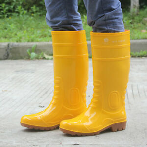 mens knee boots rain waterproof yellow skid casual outdoor