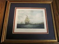 "Framed & Mounted Vintage Lithograph of S. Walter's ""Outward Bound"" Ship"