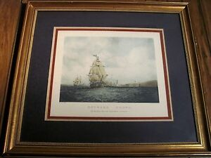 Framed-amp-Mounted-Vintage-Lithograph-of-S-Walter-039-s-034-Outward-Bound-034-Ship