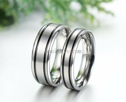 Mens Womens Couples Stainless Steel Ring Black Stripes Wedding Engagement Band