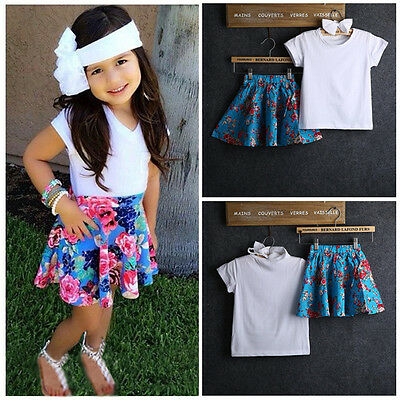 Baby Girls Short Sleeve White Top+Flower Skirt+Headband 3pcs Outfits Sets Dress