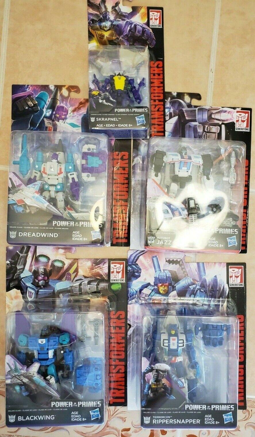 Transformers Power of the Primes JAZZ SKRAPNEL DREADWIND BLACKWING RIPPERSNAPPER