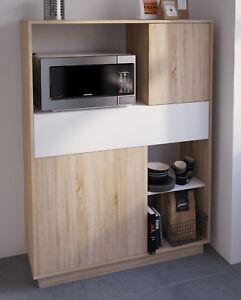 Detalles de Buffet armario auxiliar cocina hueco microondas 2 puertas cajon  101x40x137 cm