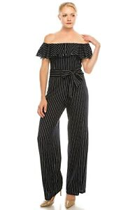Sophisticated-BeBe-Off-Shoulder-Navy-Striped-Belted-Flounce-Jumpsuit-8-12