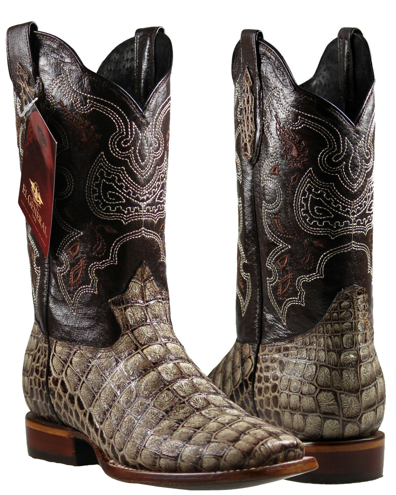 Men's Cowboy Boots El General Caiman Print color Coffee