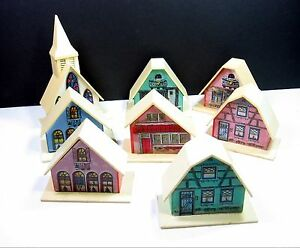 Christmas Houses Village.Details About Alpine Village Christmas Light Covers Vintage Plastic Houses Church Set Of 8