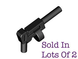 Lego 2 Minifigure Gun Weapon Tommy Gun Long Barrel Round Magazine Gangster NEW