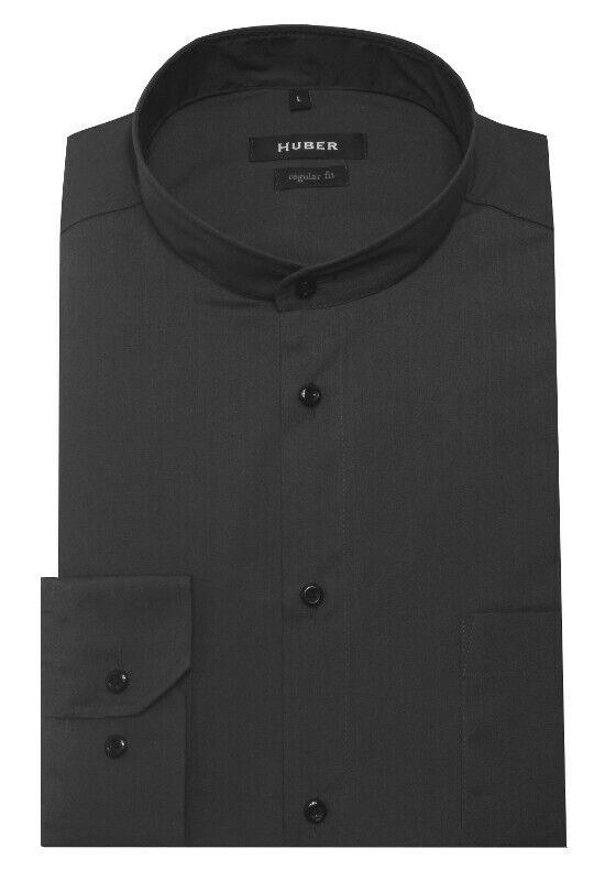 HUBER Herren Stehkragen Hemd grau bügelleicht Made in EU. HU-0652 Regular Fit