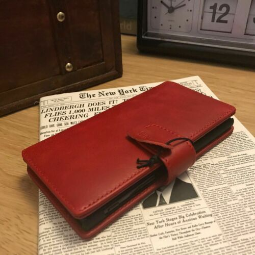 Samsung Galaxy A70 Real Leather Pelle Wallet Folio Book Case RED MK5