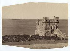 Château fort au bord de l'eau à identifier Espagne ? Vintage albumine ca 1870