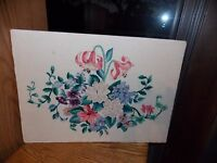 Floral Bouquet Crewel Embroidery Panel Completed Jacobean