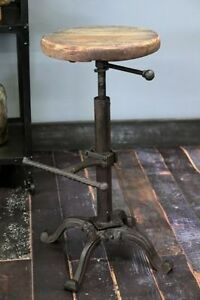 Industrial-urban-bar-stool-wooden-top-shabby-vintage-chic-kitchen-tractor-seat