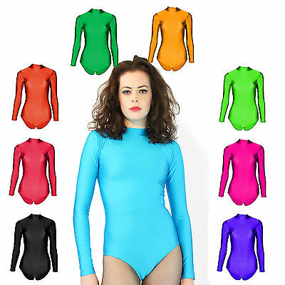 Gymnastics Leotard Lycra Gym Dance Leotards Girls Womens Long Sleeves 6 Sizes
