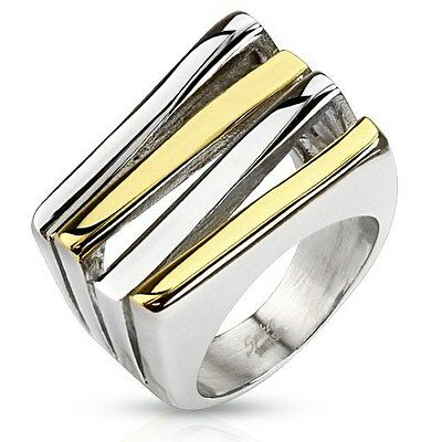 Stainless Steel and Gold IP Two Tone Cut Out Fashion Ring Wedding Engagement