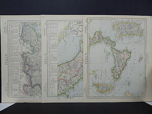 Antique Map, Lett's, 1883 Italy, 3 Maps!