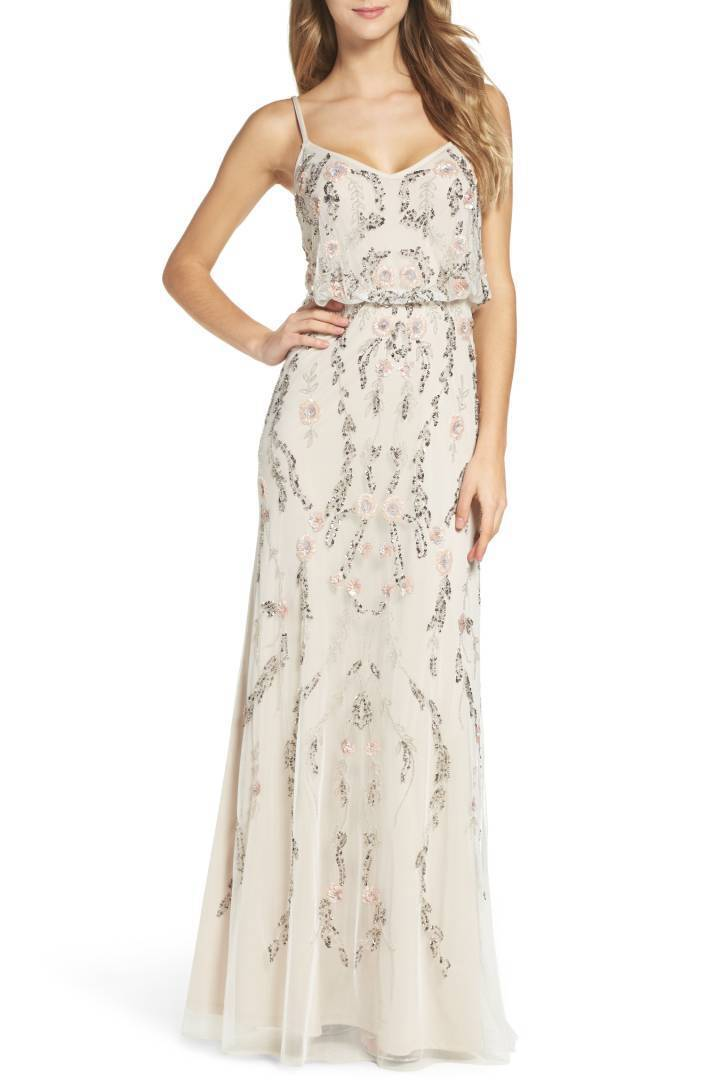 ADRIANNA PAPELL EMBELLISHED BLOUSON MESH IVORY MULTI GOWN DRESS sz 6