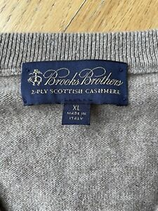 Brooks-Brothers-2-Ply-Brown-Tan-Cashmere-Mens-Vneck-Sweater-Italy-Size-XL