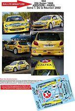 Decals 1/43 réf 504 Peugeot  206 Super 1600 ARDOUIN - PARIS  Réunion 2002