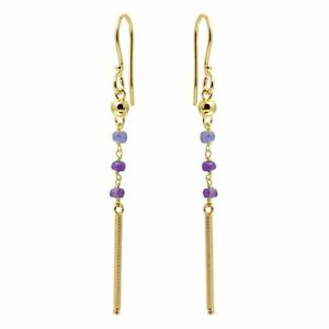 14K-YELLOW-GOLD-OVER-925-STERLING-SILVER-DANGLING-EARRINGS-W-LAB-AMETHYST-BEADS