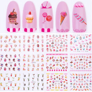 Ice-Cream-Lollipop-Juice-Nail-Water-Decals-Nail-Art-Transfer-Stickers