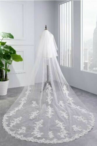 Cathedral Length 1T Wedding Veils With Comb Lace Appliques Bridal White Ivory