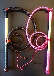 COMBO-AND-SAVE-6ft-Red-Hide-Stock-Whip-4ft-Hot-Pink-Stockwhip