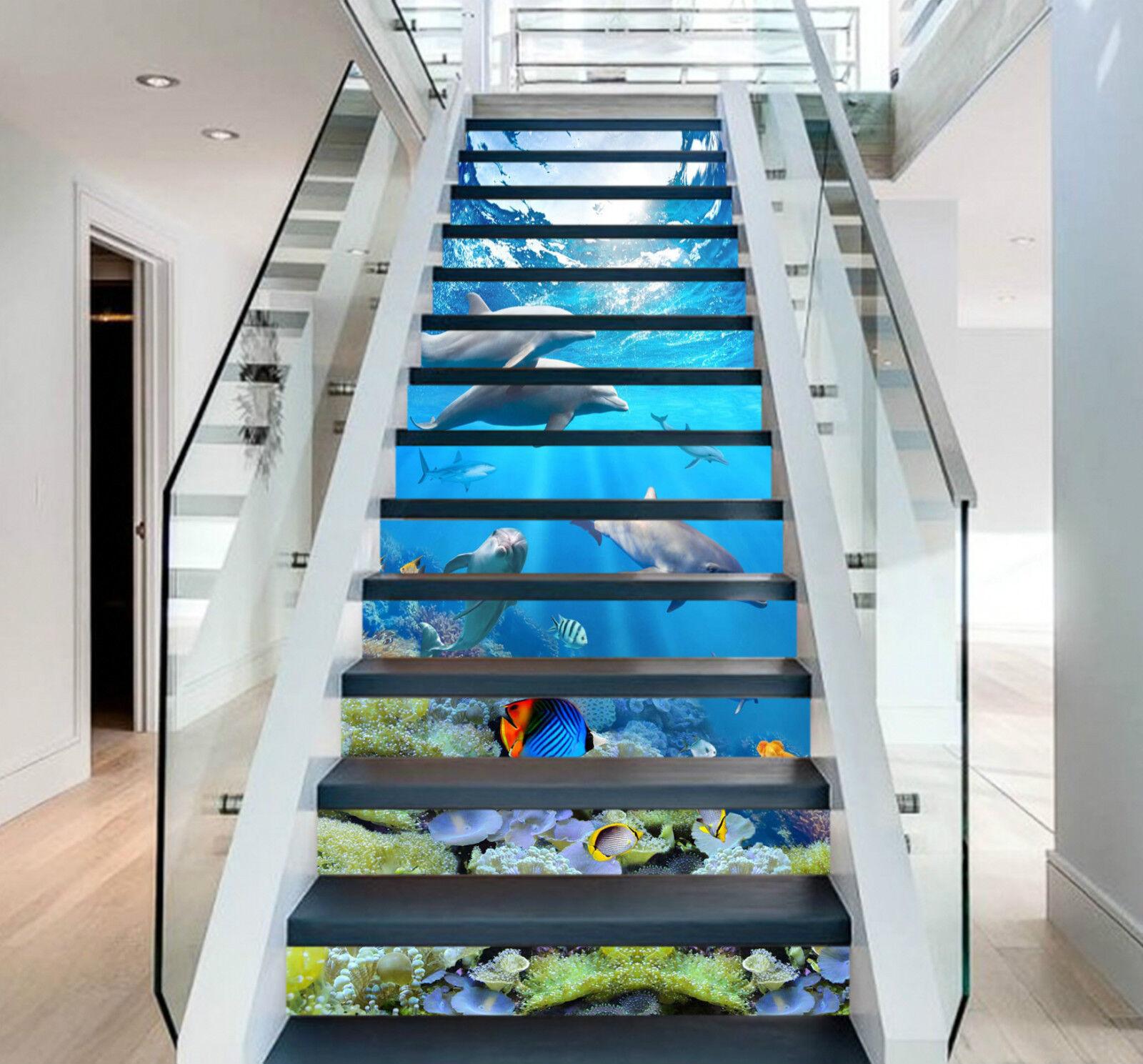 3d développe 255 Stair Risers Décoration Papier Peint Vinyle Autocollant Papier Peint De