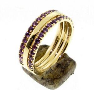 Half-Eternity-Amethyst-1-60-mm-Gold-Ring-Set-Wedding-band-or-Stacking-ring-14-K