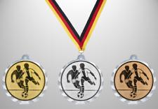 100 große Fußball Medaillen Ø 56mm Farbe nach Wahl, mit Halsband & Beschriftung