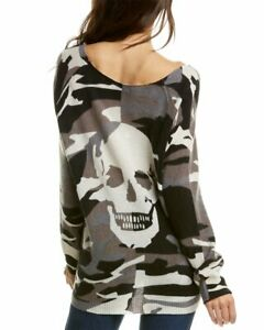Skull-Cashmere-Scout-Camo-Cashmere-Sweater-Women-039-s-Black-Xs