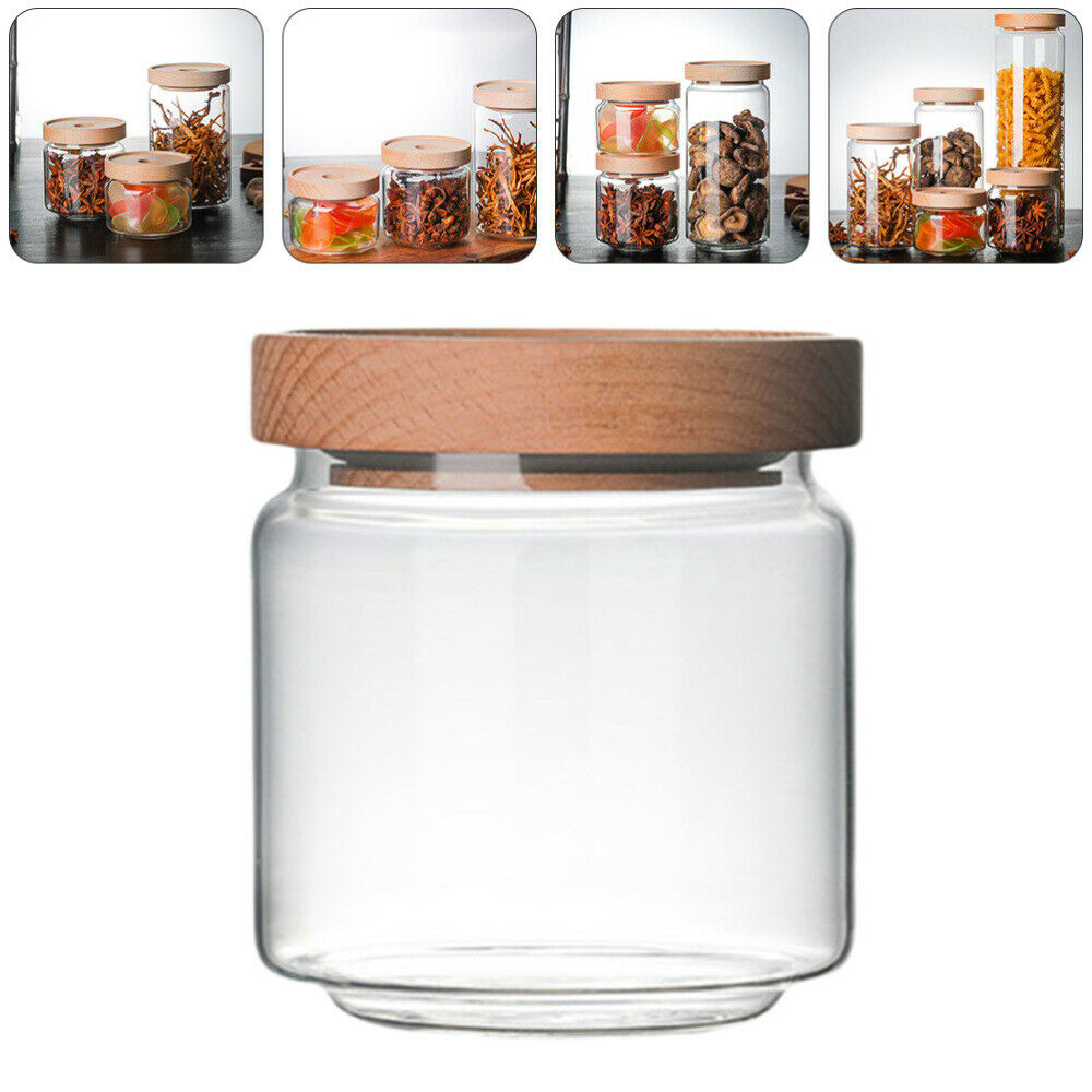 1pc Food Storage Tank Tea Container Glass Sealed Can Wood Lid Tea Canister