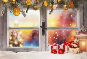 Xmas Window View Snow Show 7x5ft Vinyl Photography Background Photo Studio Props