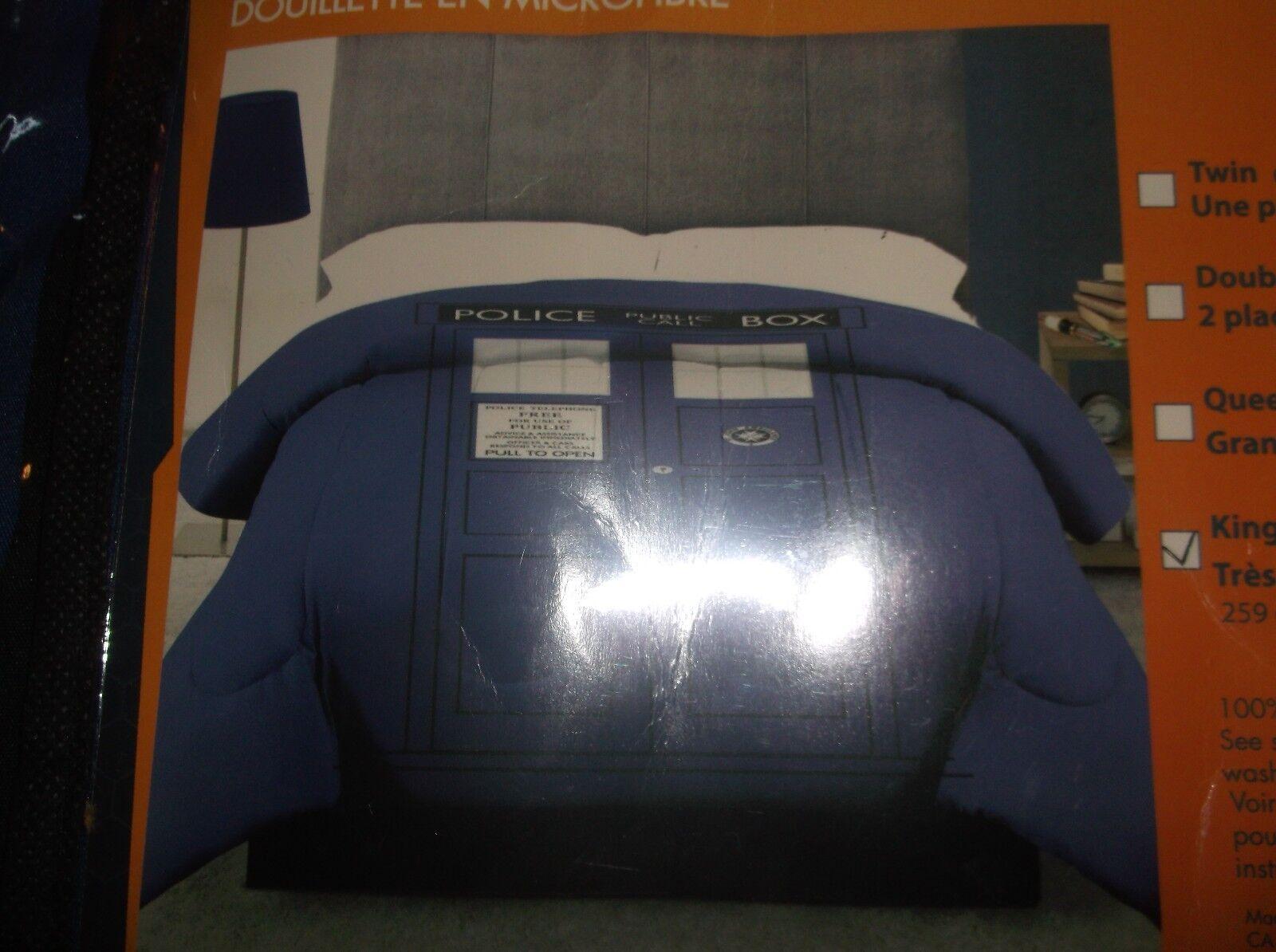 Doctor Who Tardis police box bleu roi taille lit Microfibre Couette Nouveau 102X86