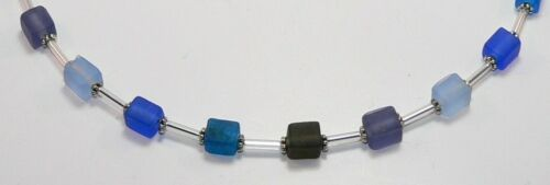 Halskette Würfelkette GLAS verschiedene Hellblau petrol Blau Lila violett  256a