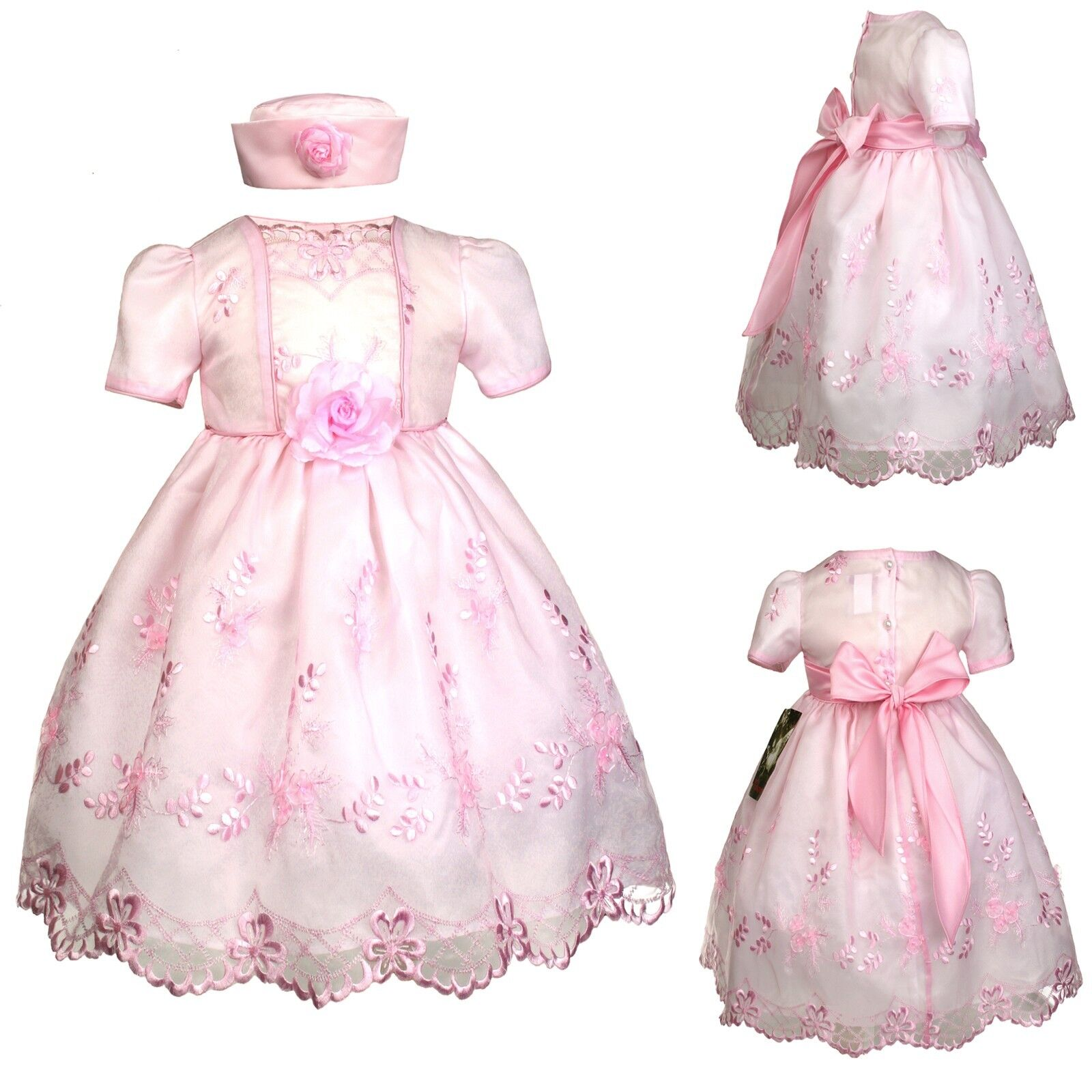 New Baby Girl Toddler Pink Dresses Wedding Prom Easter Formal Party sz: S M L XL