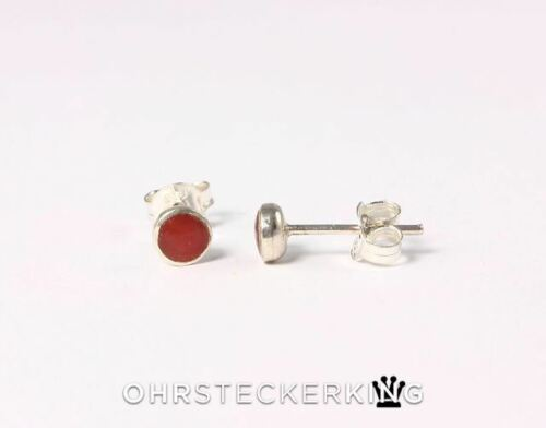 Unos pendientes 3,5 mm pequeño con piedra//Concha en 925er-plata engarzado nuevo